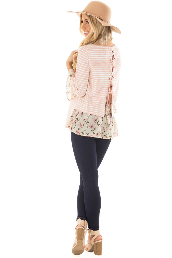 Blush Striped Lace Up Back Top with Chiffon Floral Contrast over the shoulder full body