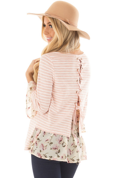 Blush Striped Lace Up Back Top with Chiffon Floral Contrast over the shoulder closeup