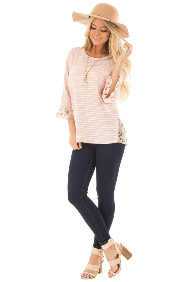 Blush Striped Lace Up Back Top with Chiffon Floral Contrast front full body