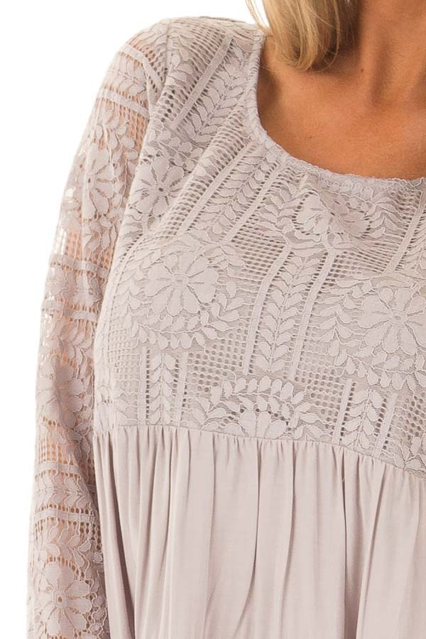 Cement Babydoll Top with Sheer Lace Contrast front detail