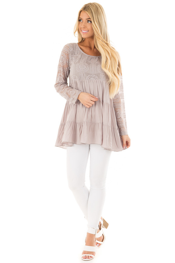 Cement Babydoll Top with Sheer Lace Contrast front full body