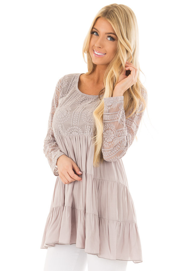 Cement Babydoll Top with Sheer Lace Contrast front closeup