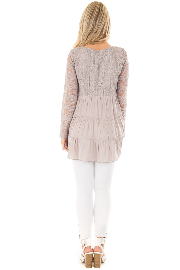 Cement Babydoll Top with Sheer Lace Contrast back full body