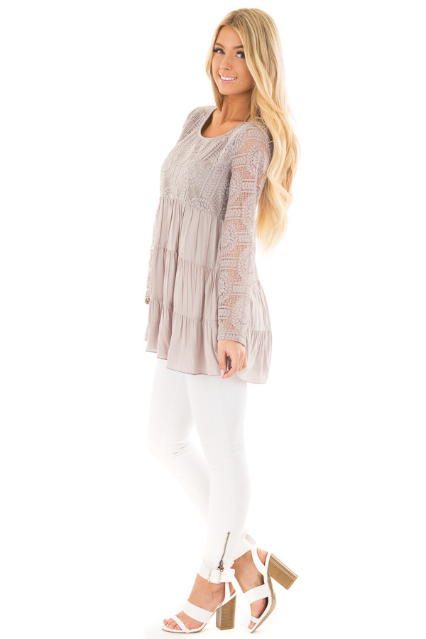 Cement Babydoll Top with Sheer Lace Contrast side full body