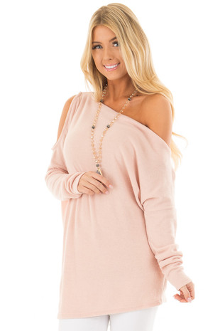 Blush Off the Shoulder Oversized Top front closeup
