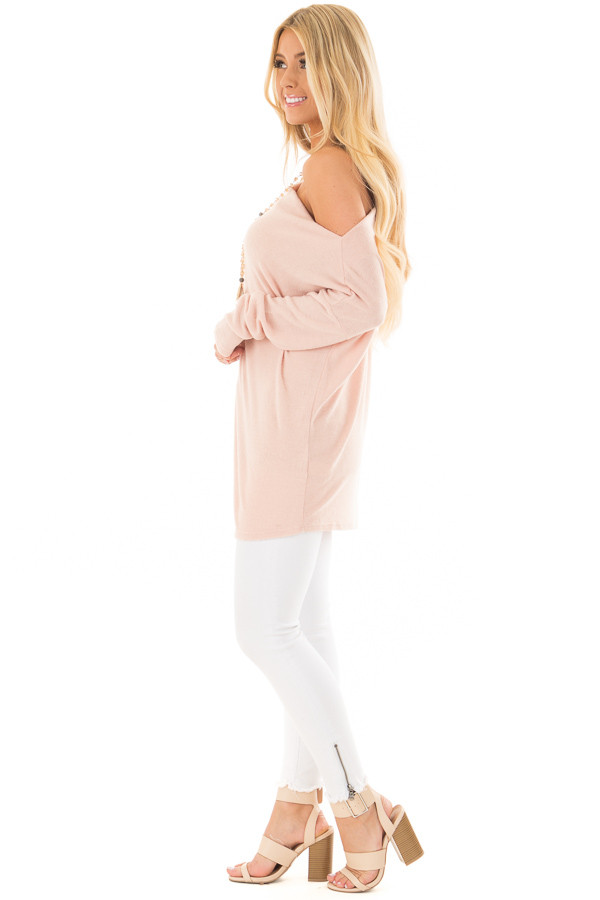 Blush Off the Shoulder Oversized Top side full body