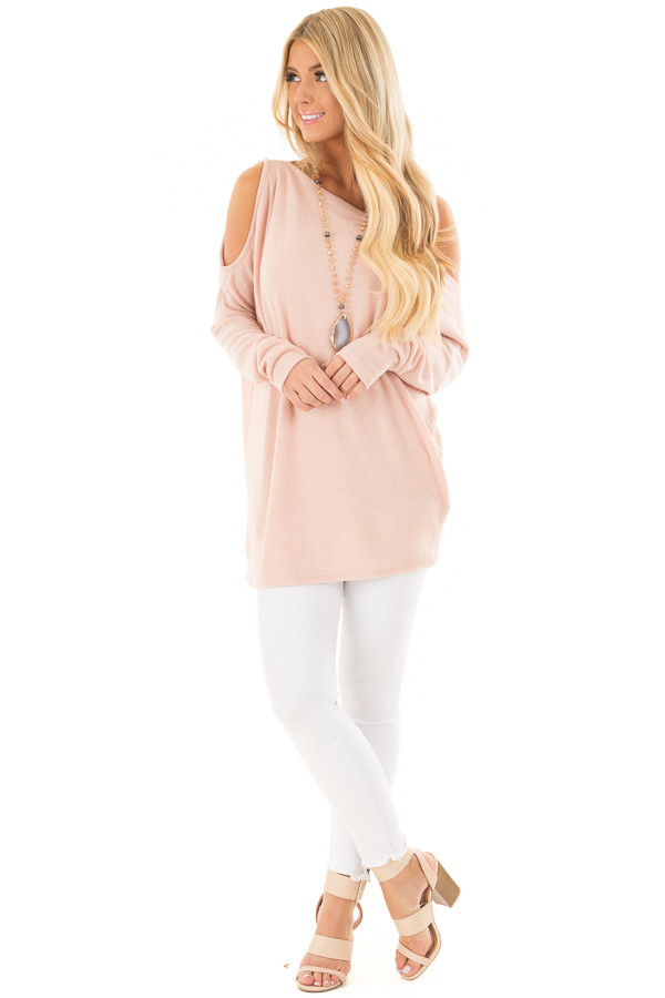 Blush Off the Shoulder Oversized Top front full body