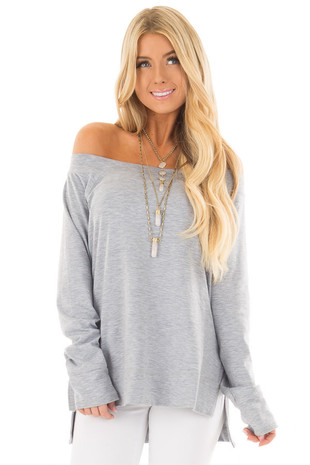 Light Navy Long Sleeve Off the Shoulder Top front closeup