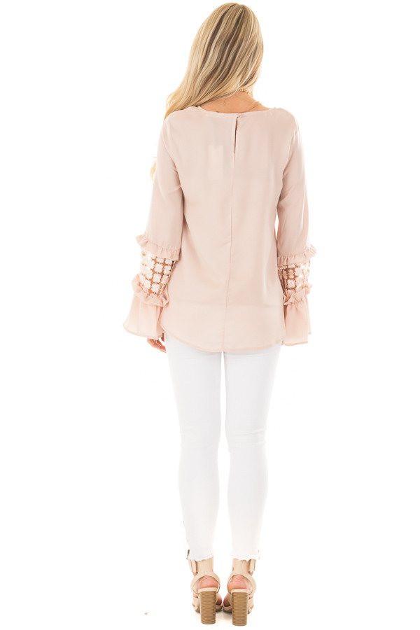 Blush Bell Sleeve Top with Sheer Lace Detail back full body