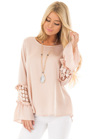Blush Bell Sleeve Top with Sheer Lace Detail front closeup