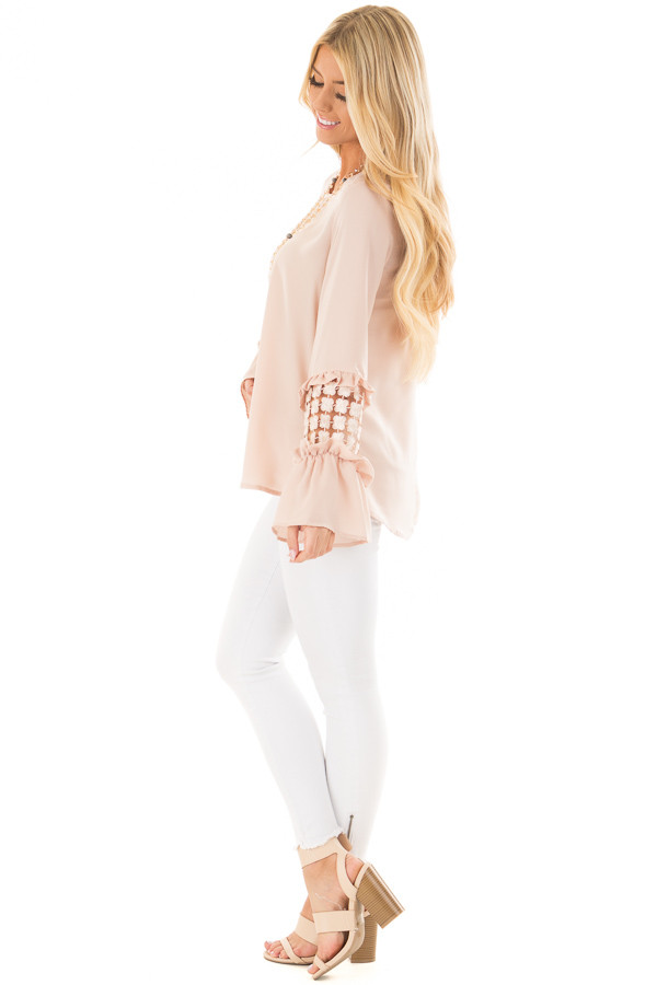 Blush Bell Sleeve Top with Sheer Lace Detail side full body