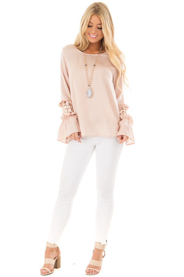 Blush Bell Sleeve Top with Sheer Lace Detail front full body