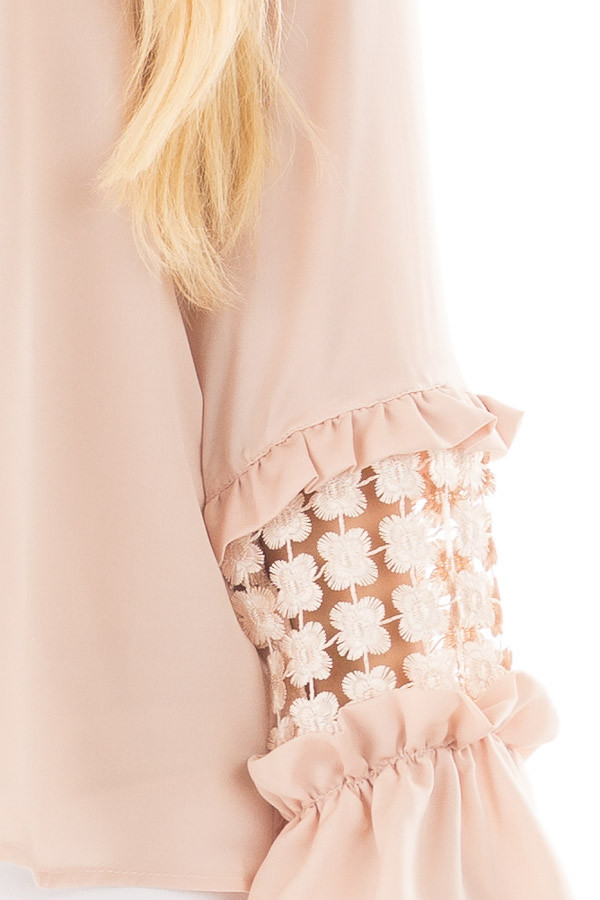 Blush Bell Sleeve Top with Sheer Lace Detail front detail