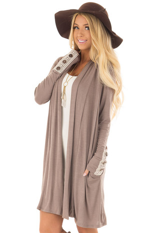Latte Long Sleeve Cardigan with Crochet Button Cuff Detail front close up
