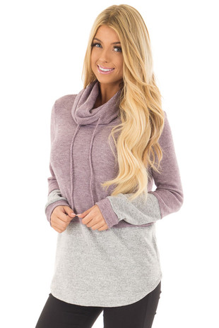 Lavender Cowl Neck Top with Heather Grey Contrast front closeup