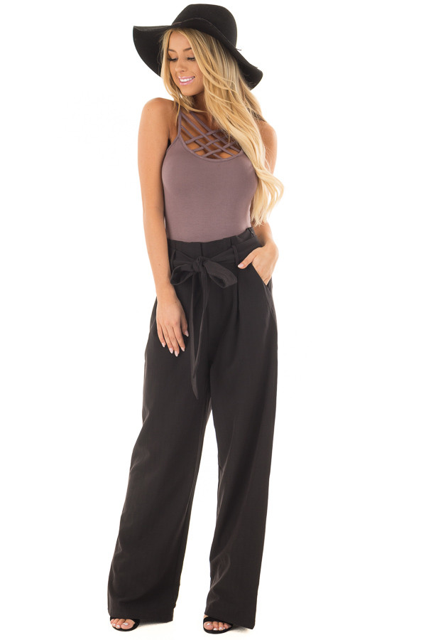 Black Pinstripe High Waist Dress Pants with Belt Detail front full body