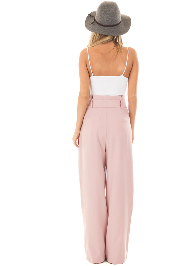 Blush Pinstripe High Waist Dress Pants with Belt Detail back full body