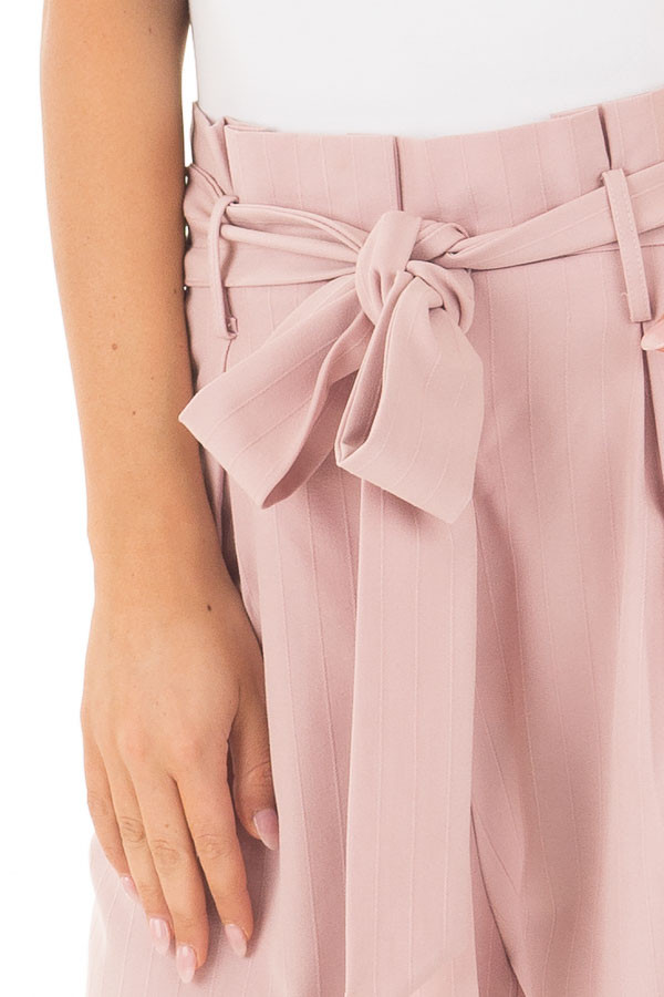 Blush Pinstripe High Waist Dress Pants with Belt Detail detail