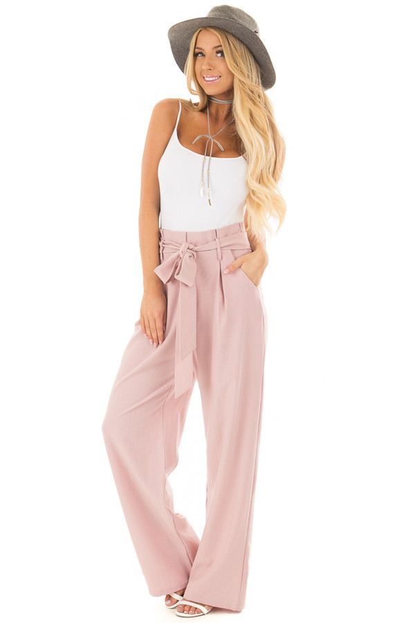 Blush Pinstripe High Waist Dress Pants with Belt Detail front full body