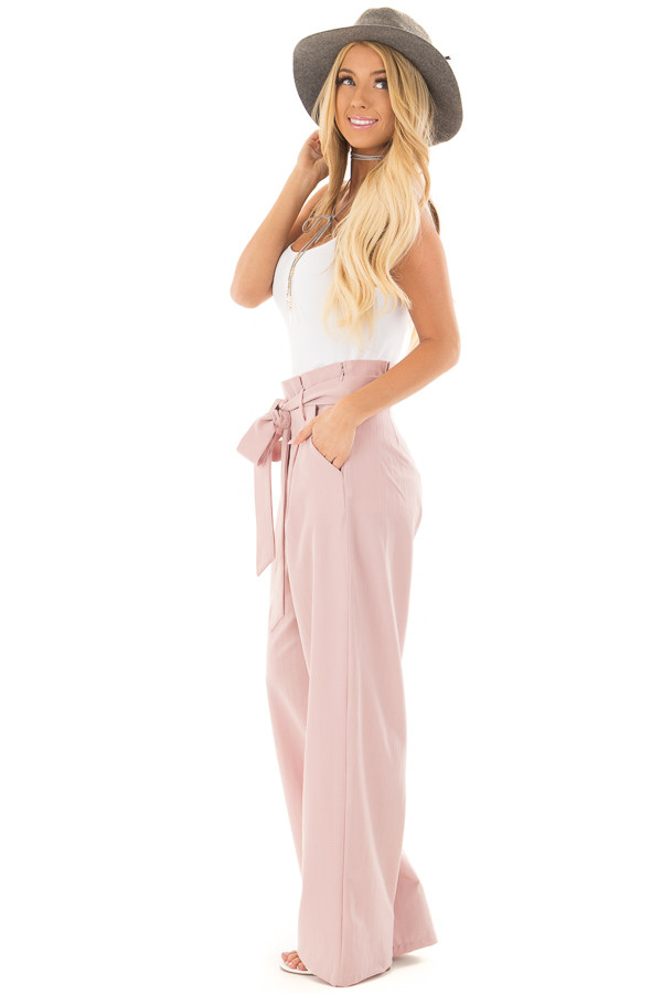 Blush Pinstripe High Waist Dress Pants with Belt Detail side full body