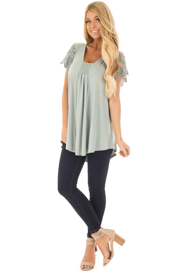Sage Top with Sheer Crochet Lace Short Sleeves front full body