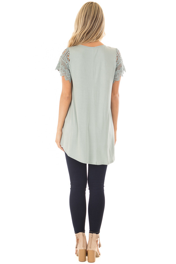 Sage Top with Sheer Crochet Lace Short Sleeves back full body