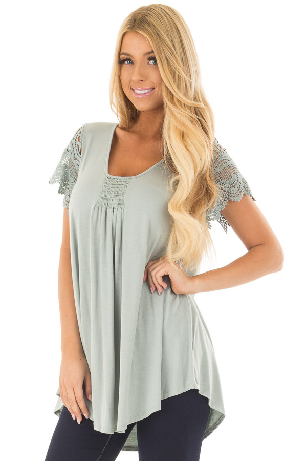 Sage Top with Sheer Crochet Lace Short Sleeves front closeup