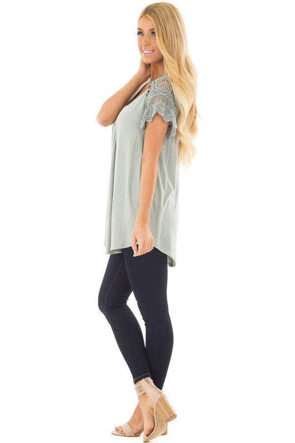 Sage Top with Sheer Crochet Lace Short Sleeves side full body