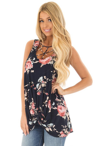 Navy Floral Print Caged Neck Tank Top with Twist Detail front close up