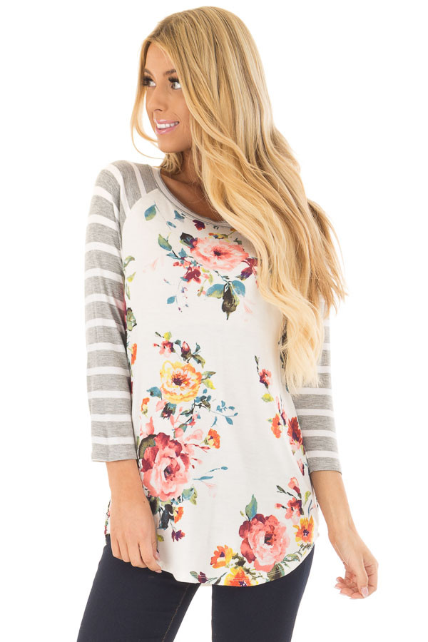 Floral Print Raglan Top with Heather Grey Striped Sleeves front closeup
