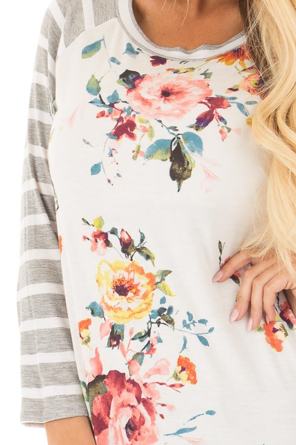 Floral Print Raglan Top with Heather Grey Striped Sleeves front detail