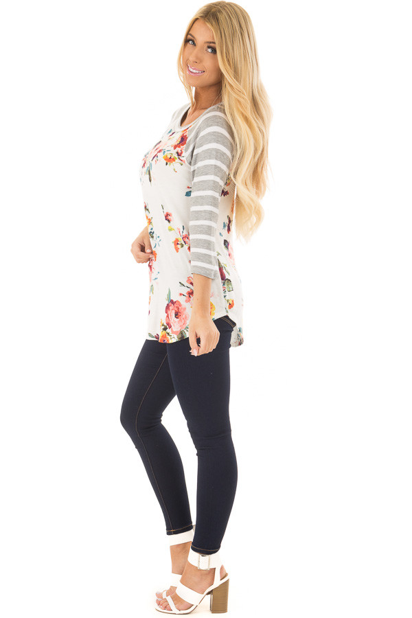 Floral Print Raglan Top with Heather Grey Striped Sleeves side full body