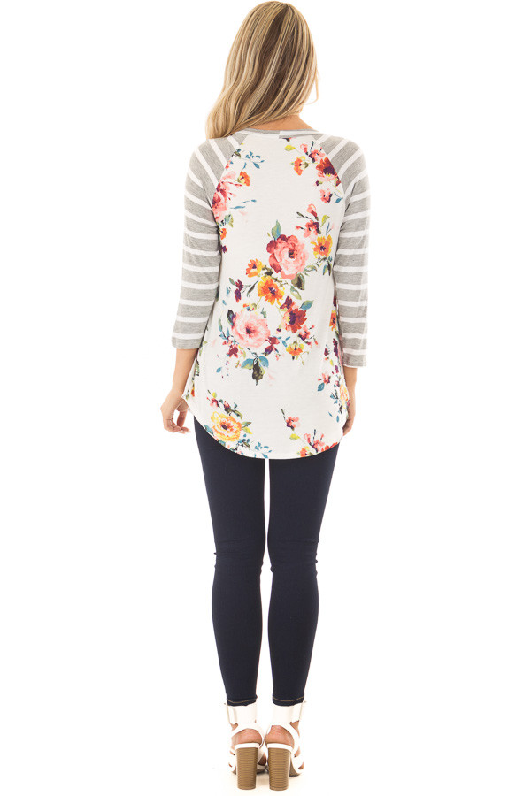 Floral Print Raglan Top with Heather Grey Striped Sleeves back full body