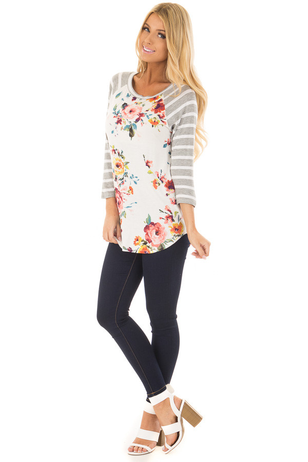Floral Print Raglan Top with Heather Grey Striped Sleeves front full body
