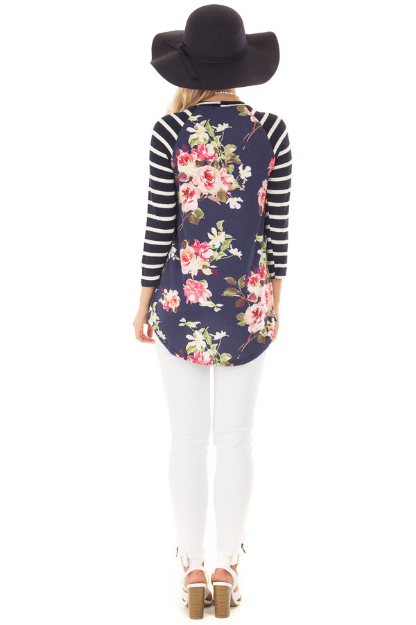Floral Print Raglan Top with Navy Striped Sleeves back full body