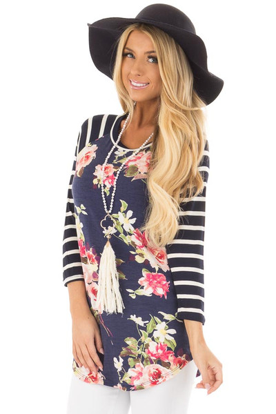 Floral Print Raglan Top with Navy Striped Sleeves front close up