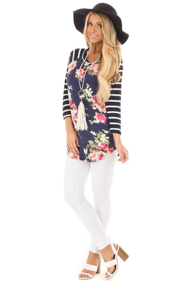 Floral Print Raglan Top with Navy Striped Sleeves front full body