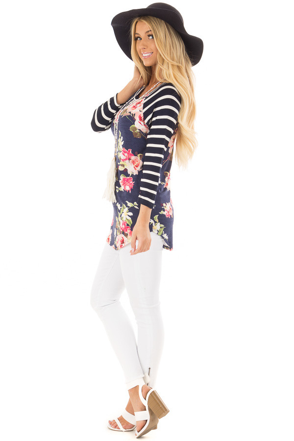 Floral Print Raglan Top with Navy Striped Sleeves side full body