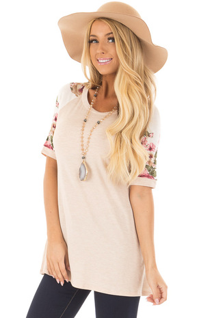 Light Blush Top with Floral Print Contrast front closeup