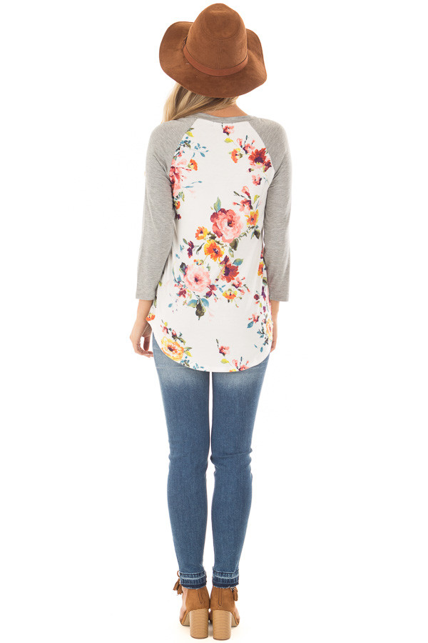 Ivory Floral Print Raglan Top with Heather Grey Contrast back full body