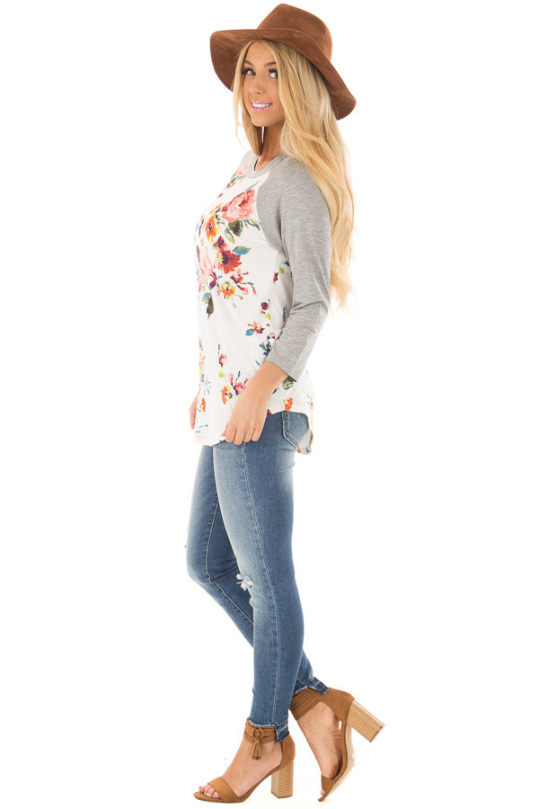 Ivory Floral Print Raglan Top with Heather Grey Contrast side full body