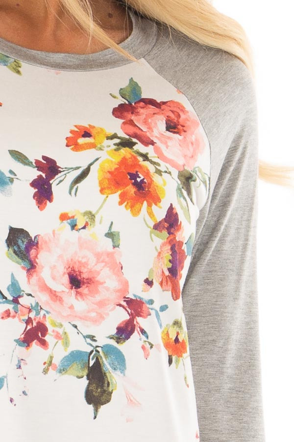 Ivory Floral Print Raglan Top with Heather Grey Contrast detail