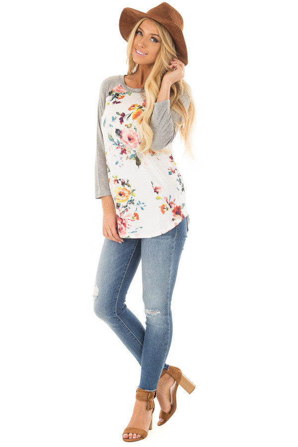 Ivory Floral Print Raglan Top with Heather Grey Contrast front full body