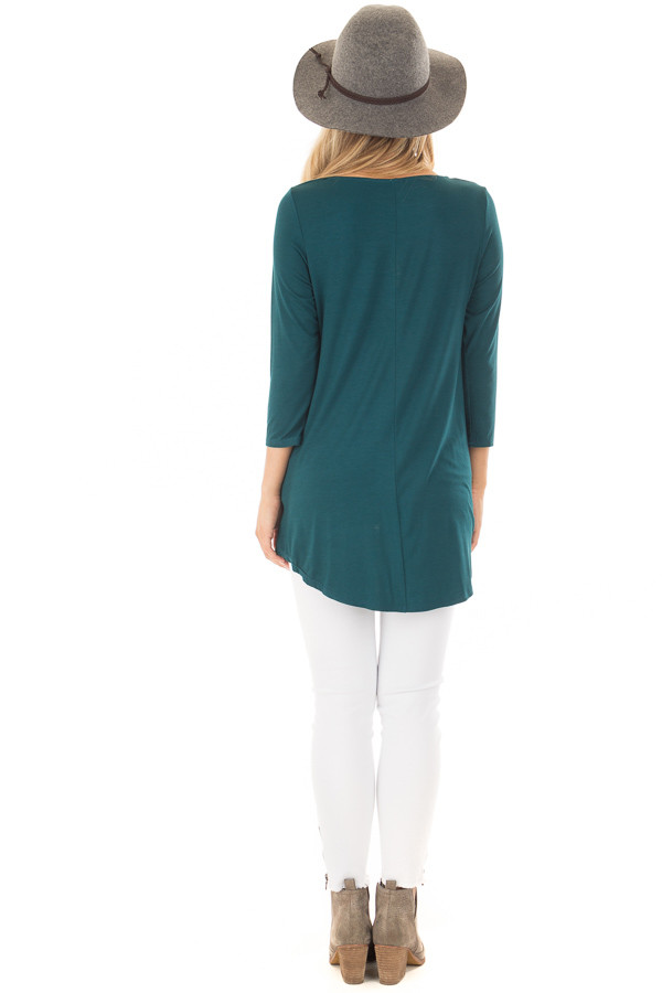 Deep Teal Caged Neck 3/4 Sleeve Top with Twist Detail back full body
