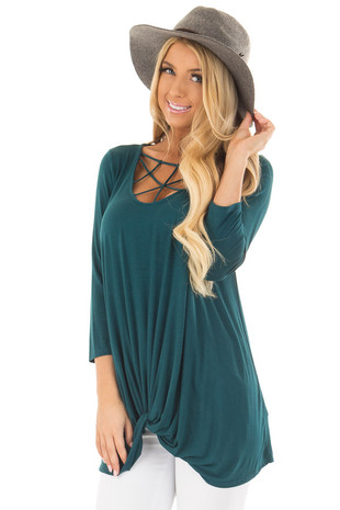 Deep Teal Caged Neck 3/4 Sleeve Top with Twist Detail front close up