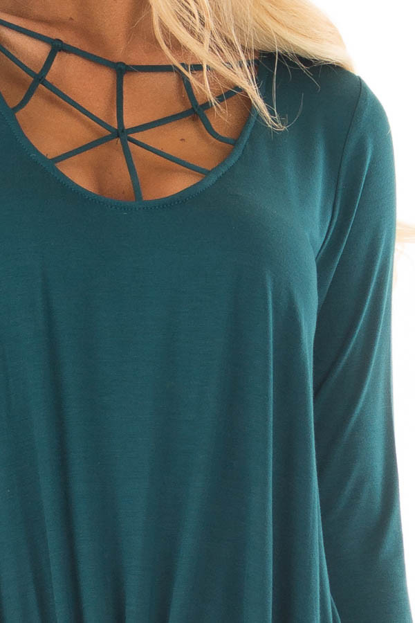 Deep Teal Caged Neck 3/4 Sleeve Top with Twist Detail detail