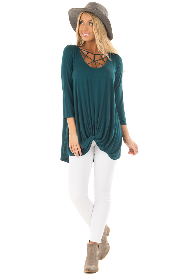 Deep Teal Caged Neck 3/4 Sleeve Top with Twist Detail front full body