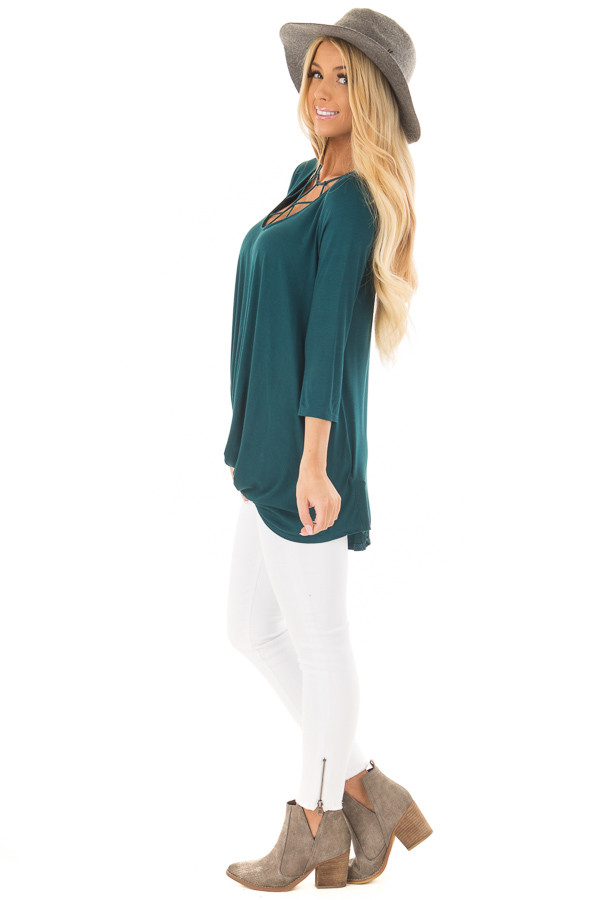 Deep Teal Caged Neck 3/4 Sleeve Top with Twist Detail side full body