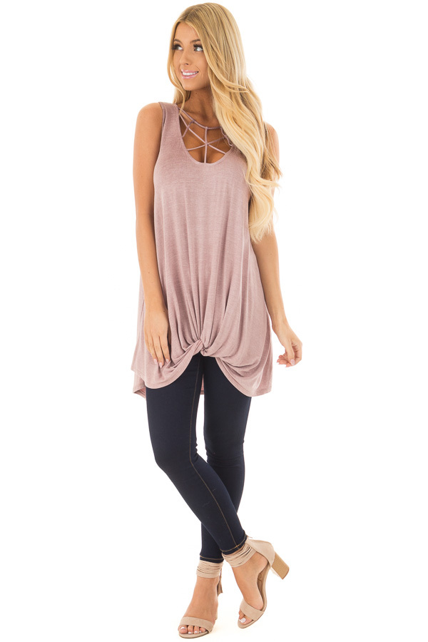 Misty Lavender Mineral Wash Caged Neck Tank Top front full body