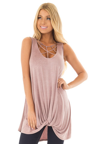 Misty Lavender Mineral Wash Caged Neck Tank Top front closeup